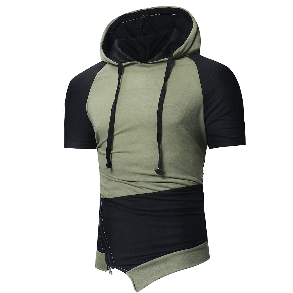 2018 Spring and Summer New Men's Personality Hit Color Diagonal Pull Sports Hooded Short-sleeved T-shirt