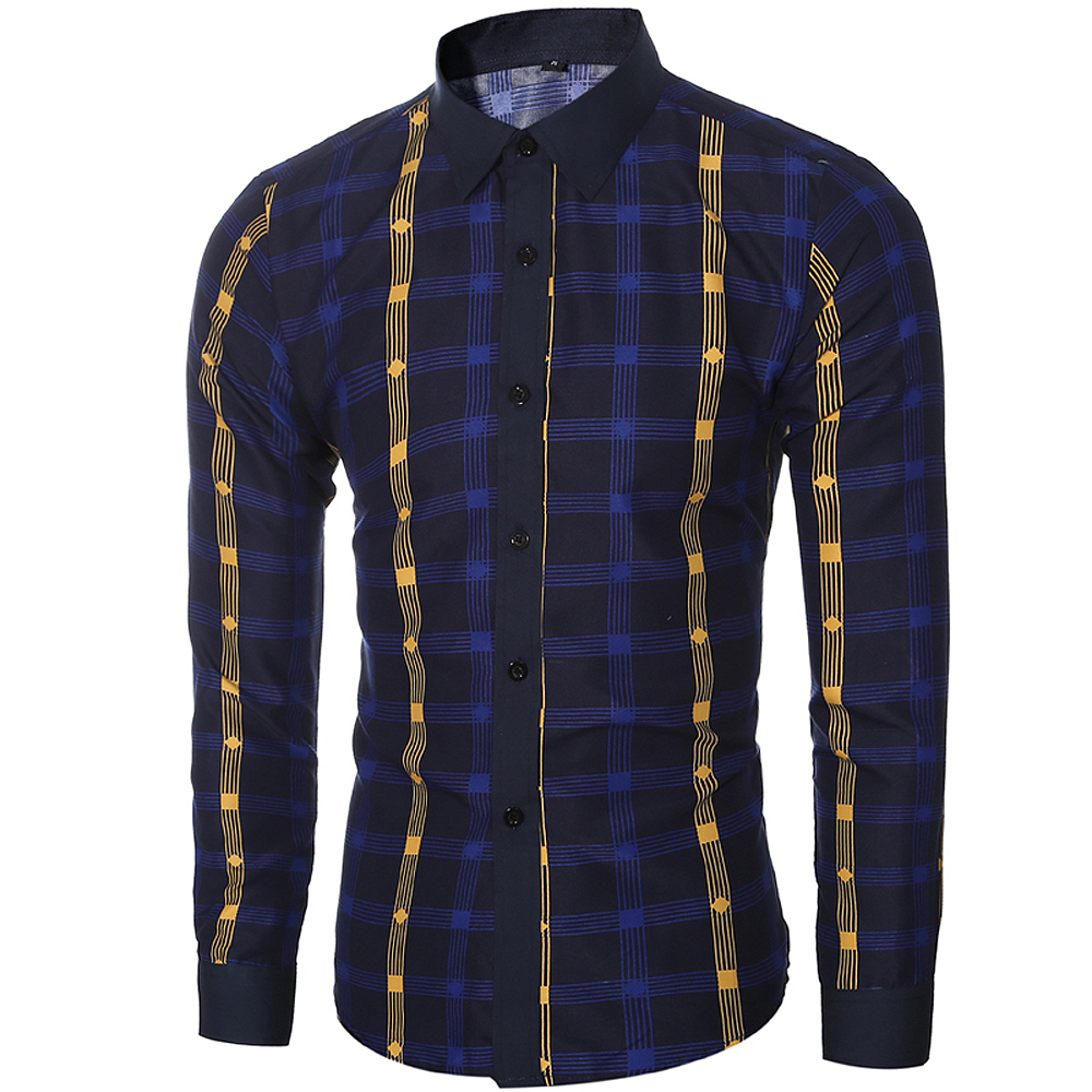 2018 New Spring and Summer Men's Fashion Fight Color Plaid Casual Long-sleeved Shirt