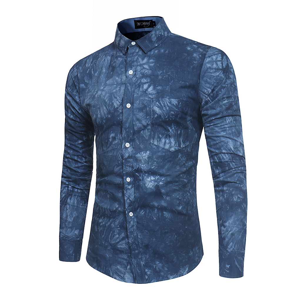 2018 New Spring-summer Men's Casual Dyeing Long Sleeve Shirt