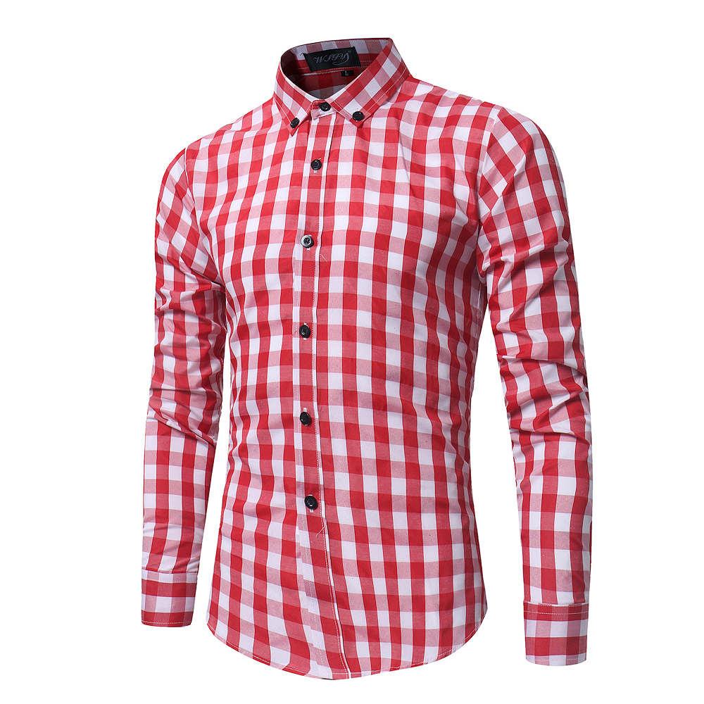2018 New Spring and Summer Men's Fashion Lattice Slim Long-sleeved Shirt