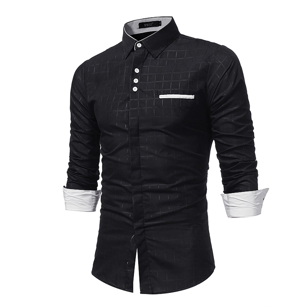 New  Simple Lattice Printed Slim  Tide Business Long-Sleeved Shirt