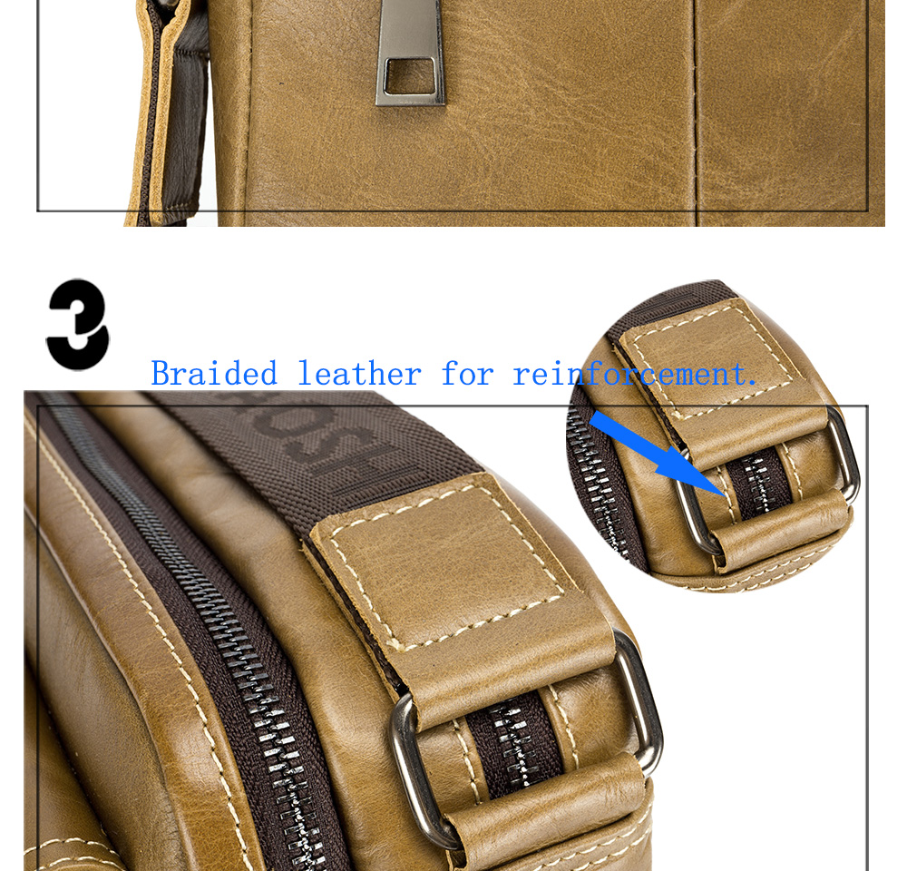LAOSHIZI LUOSEN 2018 New Arrival Genuine Leather for Men Shoulder Bags