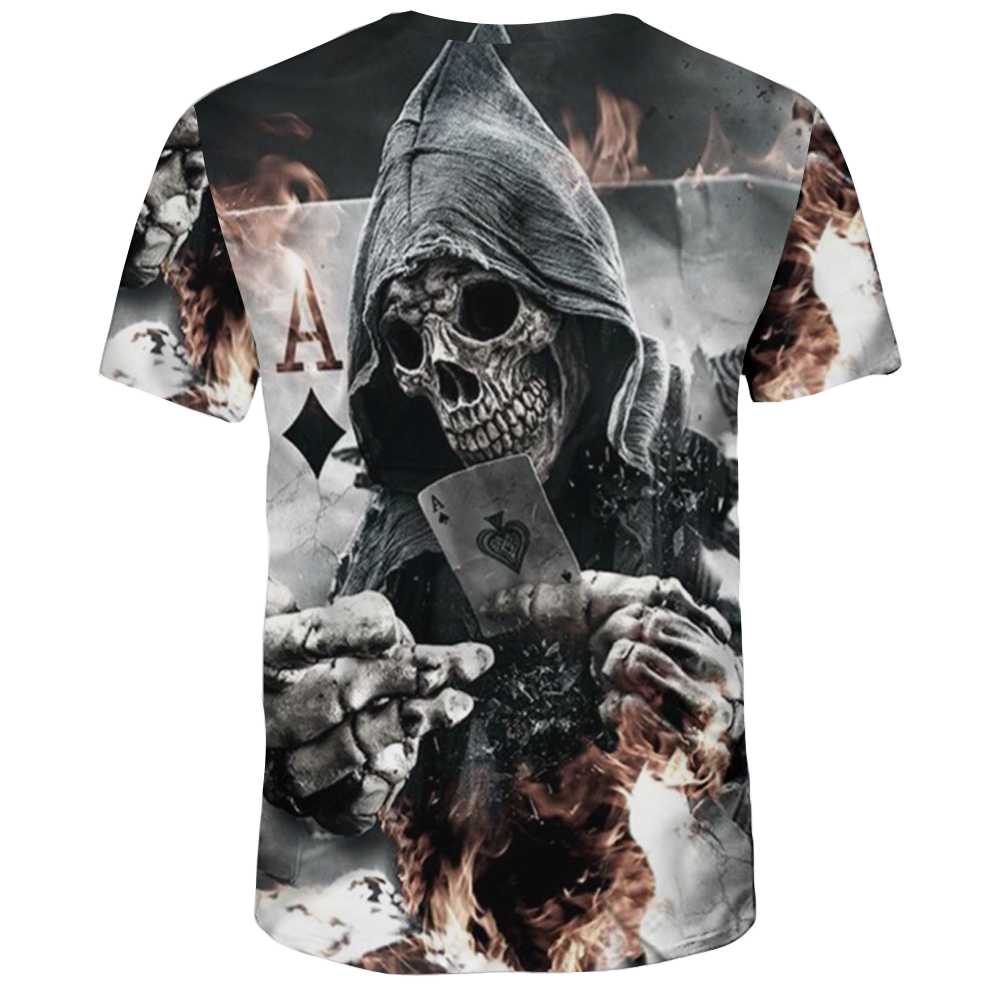 Summer Fashion 3D Spade Death Print Men's Round Neck Short T-shirt