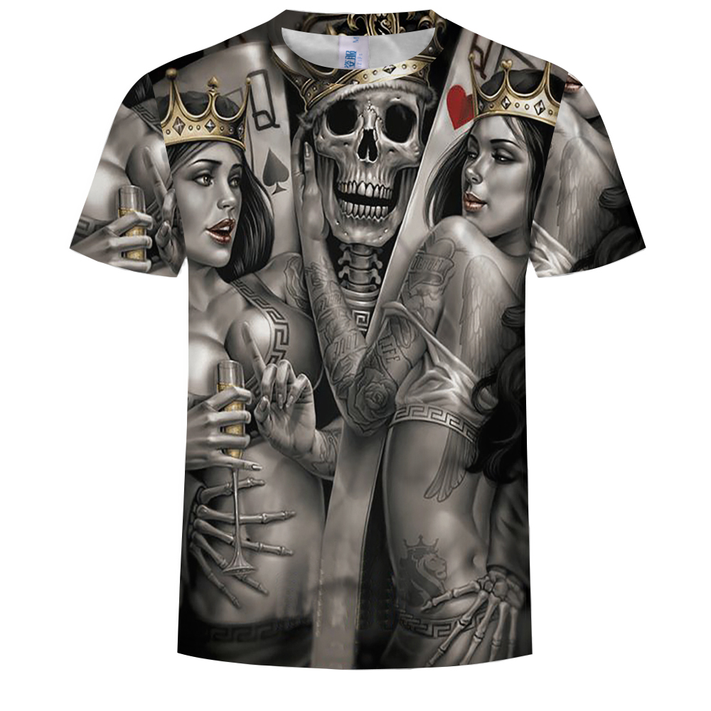 Summer Fashion 3D Devil Print Men's Round Neck Short Sleeve T-shirt