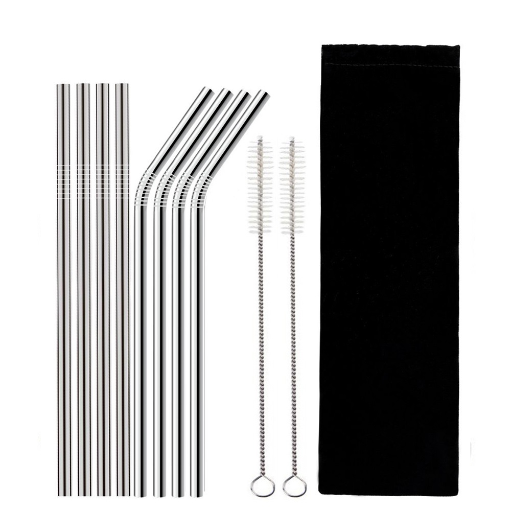 Reusable Stainless Steel Drinking Straws with Silicone Tips Cleaning Brush