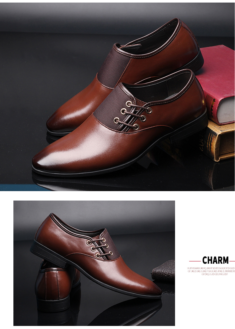 Men Casual Fashion Outdoor Lace Up Wedding Business Leather Shoes