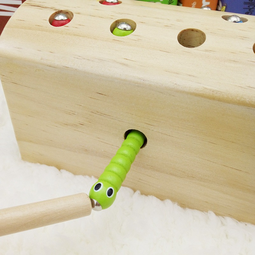 Creative Design Magnetic Wooden Puzzle Game Catch the Worm