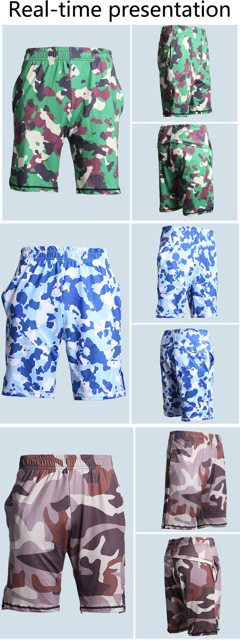 Men's Summer Outdoor Beach Camouflage Suit Breathable Dry Exercise Shorts