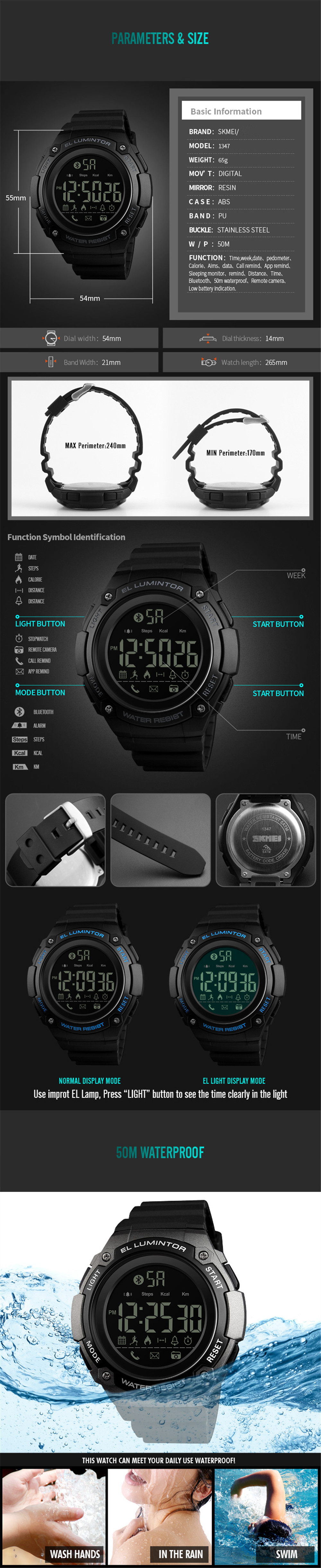 SKMEI Men Smart Sports Watch Calorie Pedometer Call Reminder Chronograph