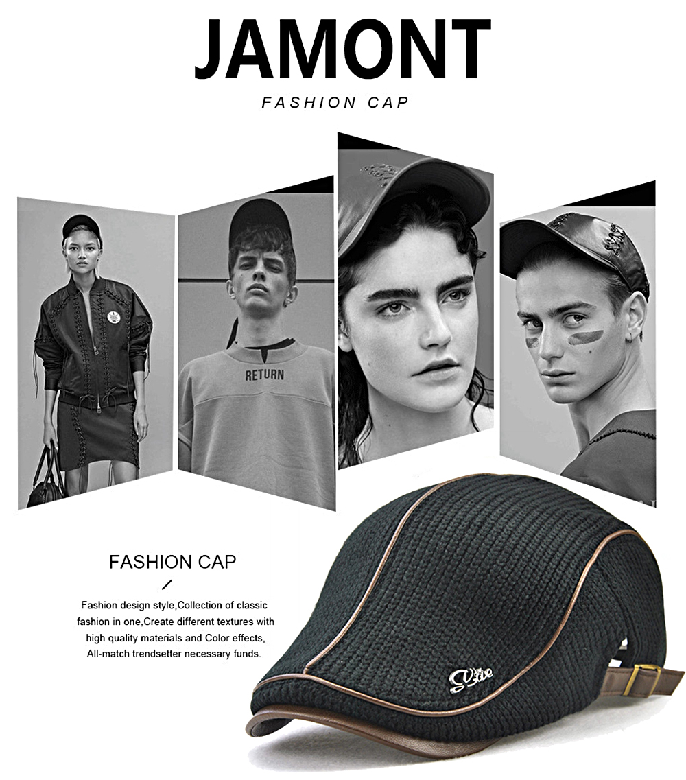 JAMONT Men's Casual Ancient England Knit Autumn and Winter Thick Warm Beret
