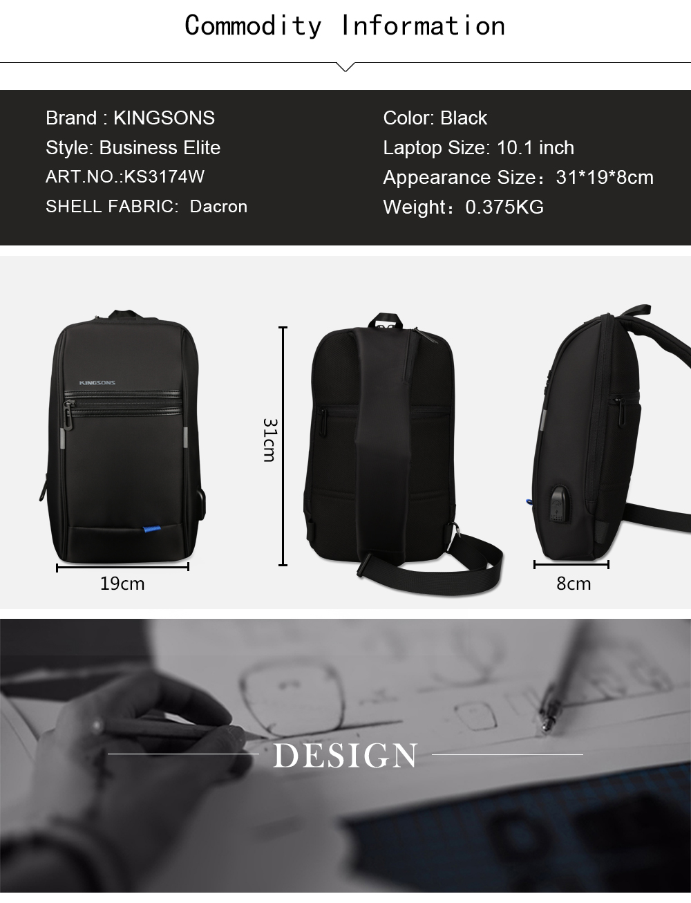KINGSONS Men's Crossbody Small Single Shoulder Strap Casual Travel Bag