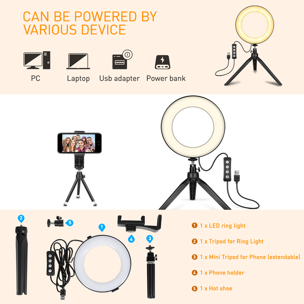 Self Portrait Peaceip US Ring Light Dimmable LED Selfie Light 3 in 1 Mobile Phone Holder USB Charging Portable with 3 Light Modes and 10 Brightness Levels for YouTube