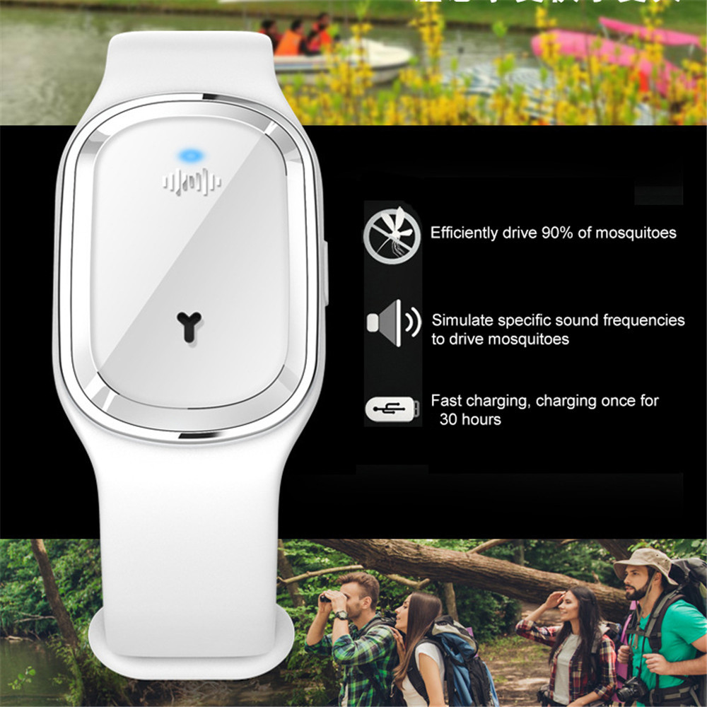 Ultrasonic Mosquito Repellent Wristband Bracelet - White