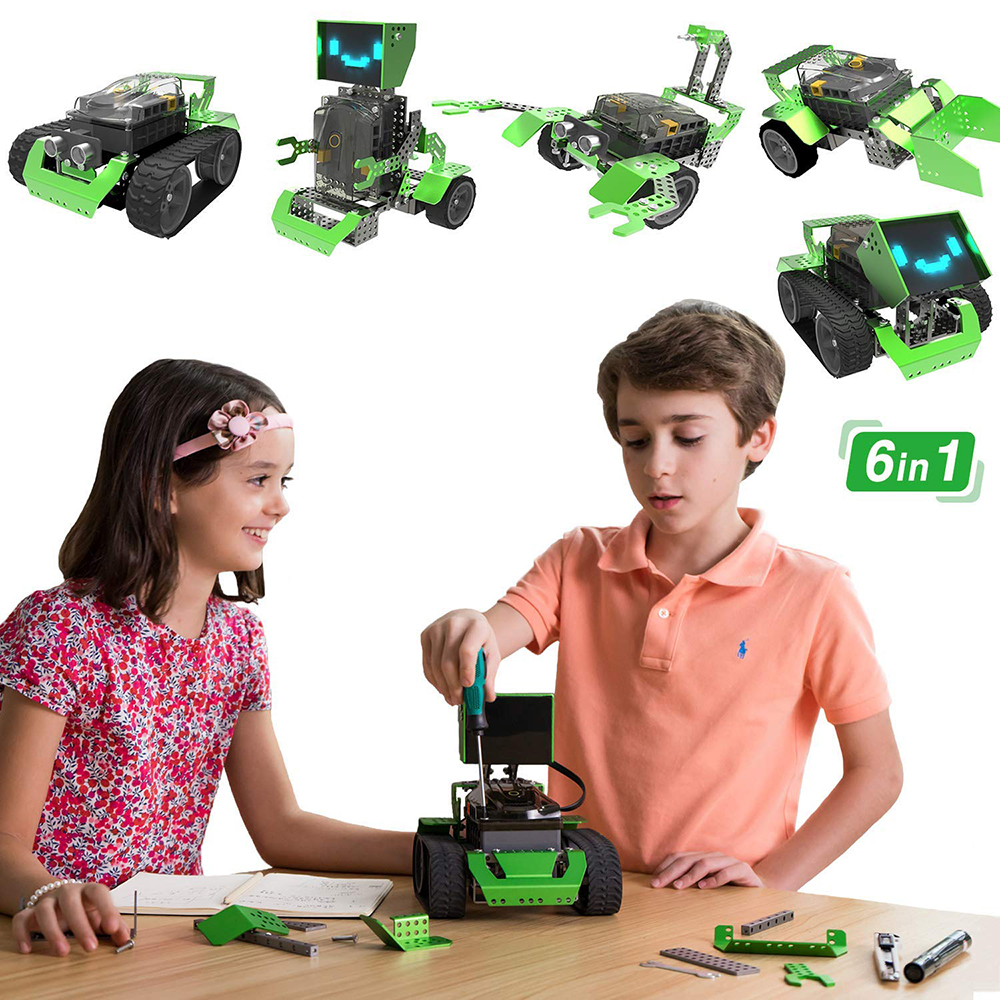 Robobloq 6 in 1 Robot Kit Robotica STEM Education Coding Qoopers (174 pezzi)- Verde