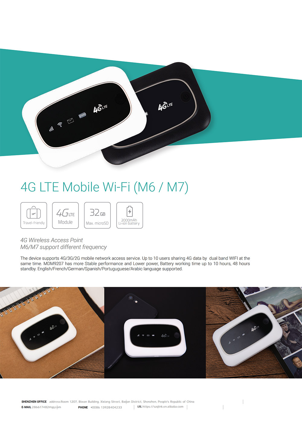 4G Unlock MiFi LTE CAT4 150M Portable Hotspot Wireless WiFi Router SIM Card