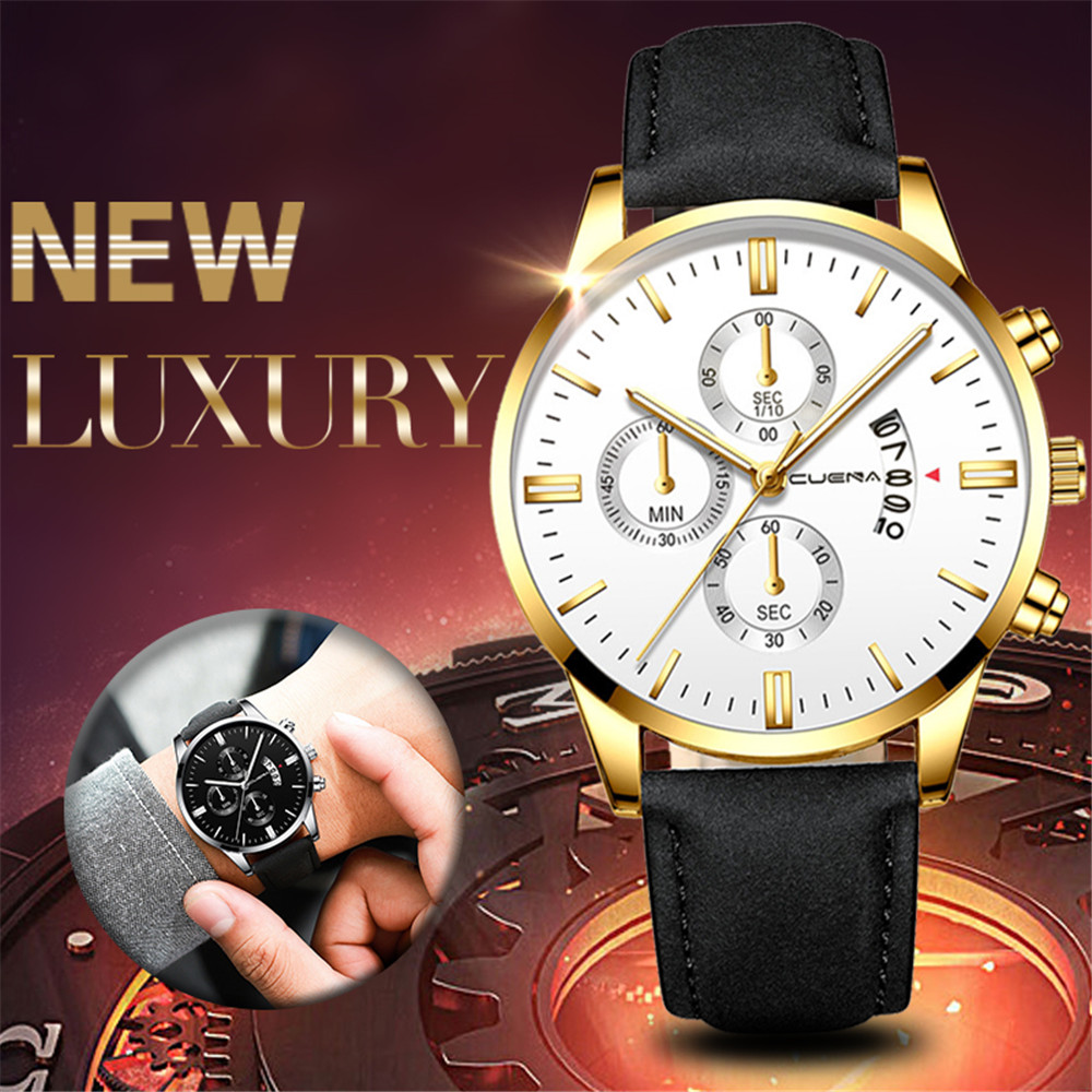 Men Leather Watch Faux Chronograph Date Quartz Watch Business Casual Watch- Multi-A