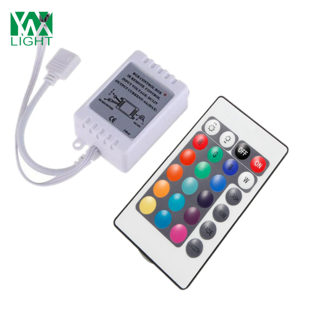Ywxlight 5M 5050 72W Led Light Strip 24 Keys Remote Control 5A Adapter Ac 100 - 240V
