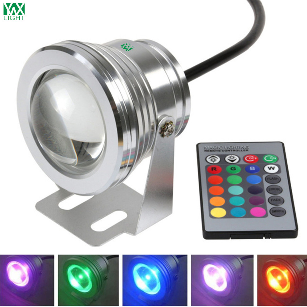 YWXLight 10W 12V IP67 LED Underwater Light RGB Controller Fountain Pool Lamp Lighting