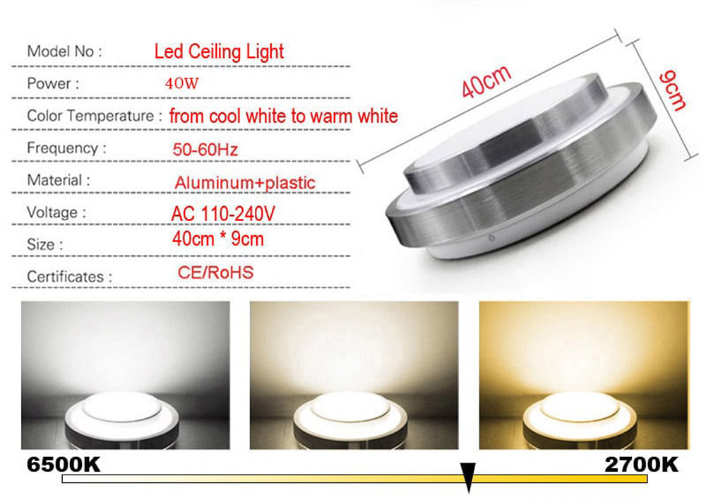 Led Ceiling Lights Change Color Temperature Ceiling Lamp 40W Smart Remote Control Dimmable Bedroom Living Room- White