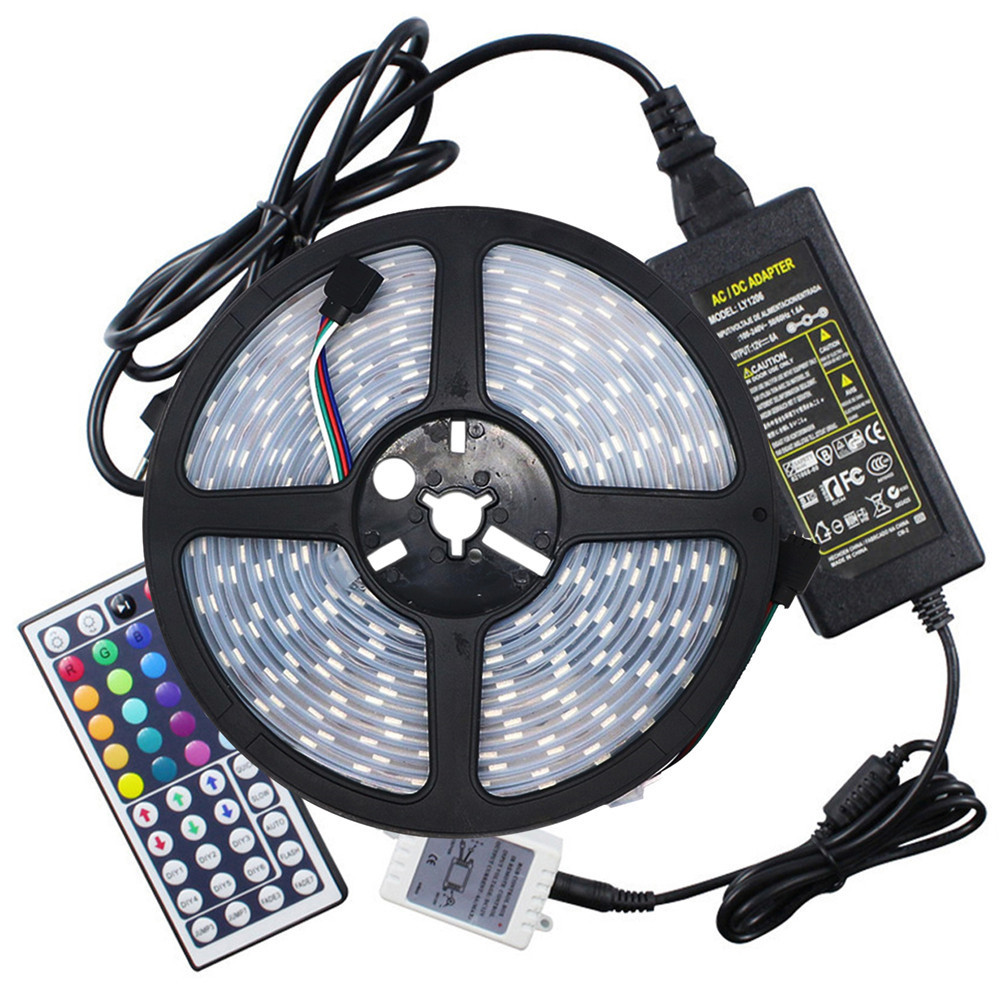 Ywxlight 5M 5050 72W Led Light Strip 44 Keys Remote Control 5A Adapter Ac 100 - 240V