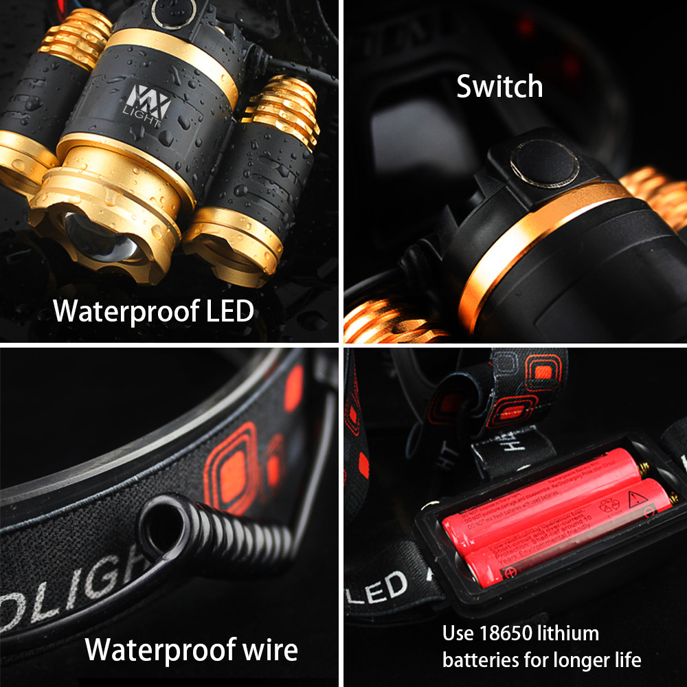 YWXLight 30W LED Headlamp Waterproof Zoomable Flashlight Torch for Camping