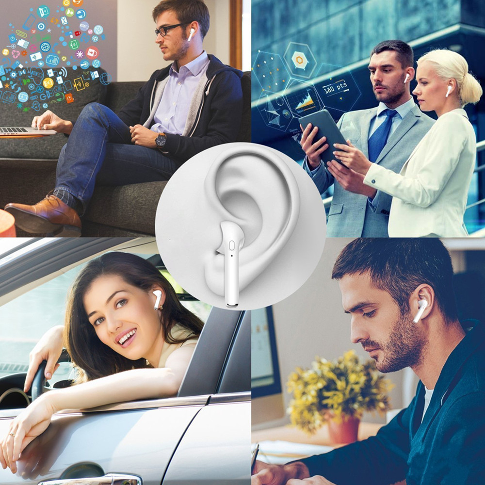 i7S TWS Earphones Dual Wireless Bluetooth Earbuds for iPhone 6 / 7 Plus / X / Samsung- White