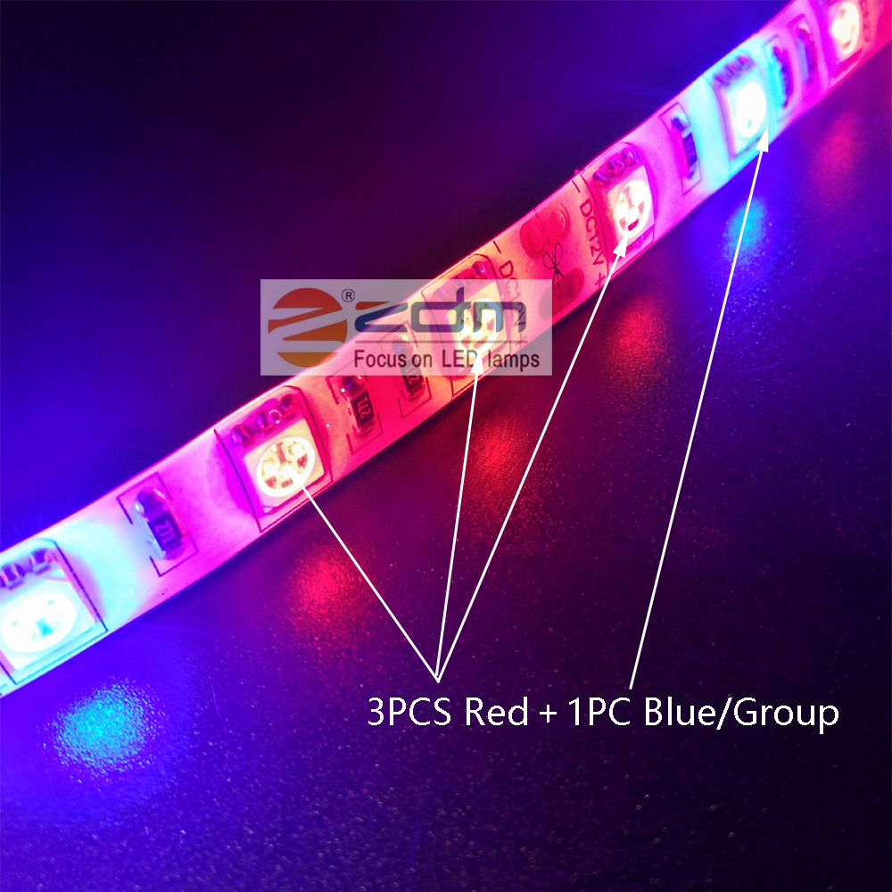 Zdm 5M 72W 300PCS 5050 3 Red and 1 Blue Group LED Plant Light Strip DC 12V