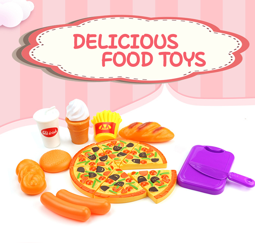 15PCS Plastic Food Pizza Kitchen Pretend Play Toy for Kids