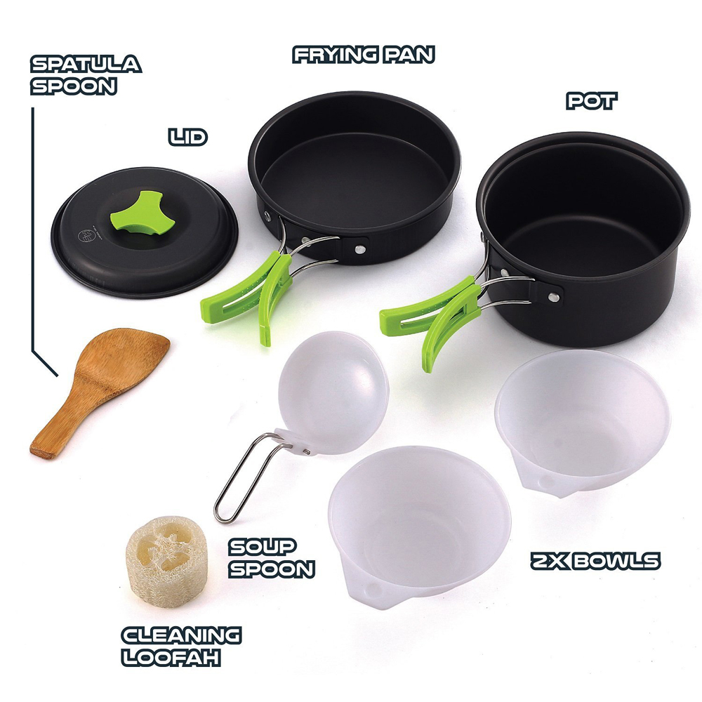 Outdoor Cookware Set Cooking Utensils Lightweight Compact Pot Pan Bowls for Camping Hiking Backpacking Picnic