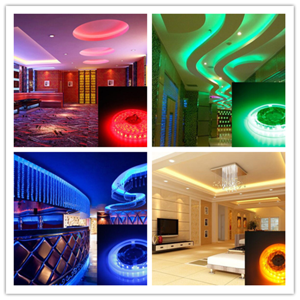 OMTO DC12V 5M / 16.4 FT SMD3528 Non-Waterproof LED Light Strip Power Supply RGB Color Changing Kit with 24 Key IR Controller for Kitchen Bedroom Sitting Room Car