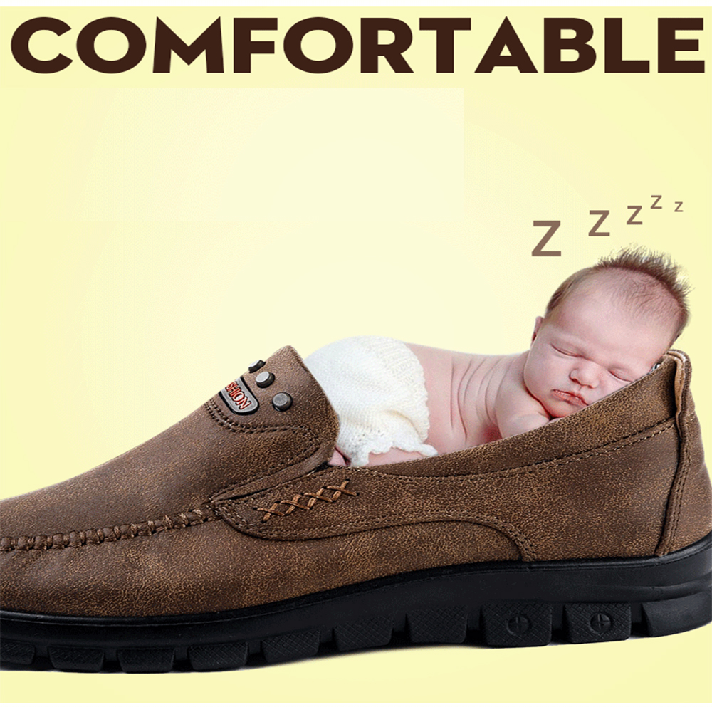 Fashion Men's Winter Leather Casual Shoes Breathable Antiskid Loafers Moccasins
