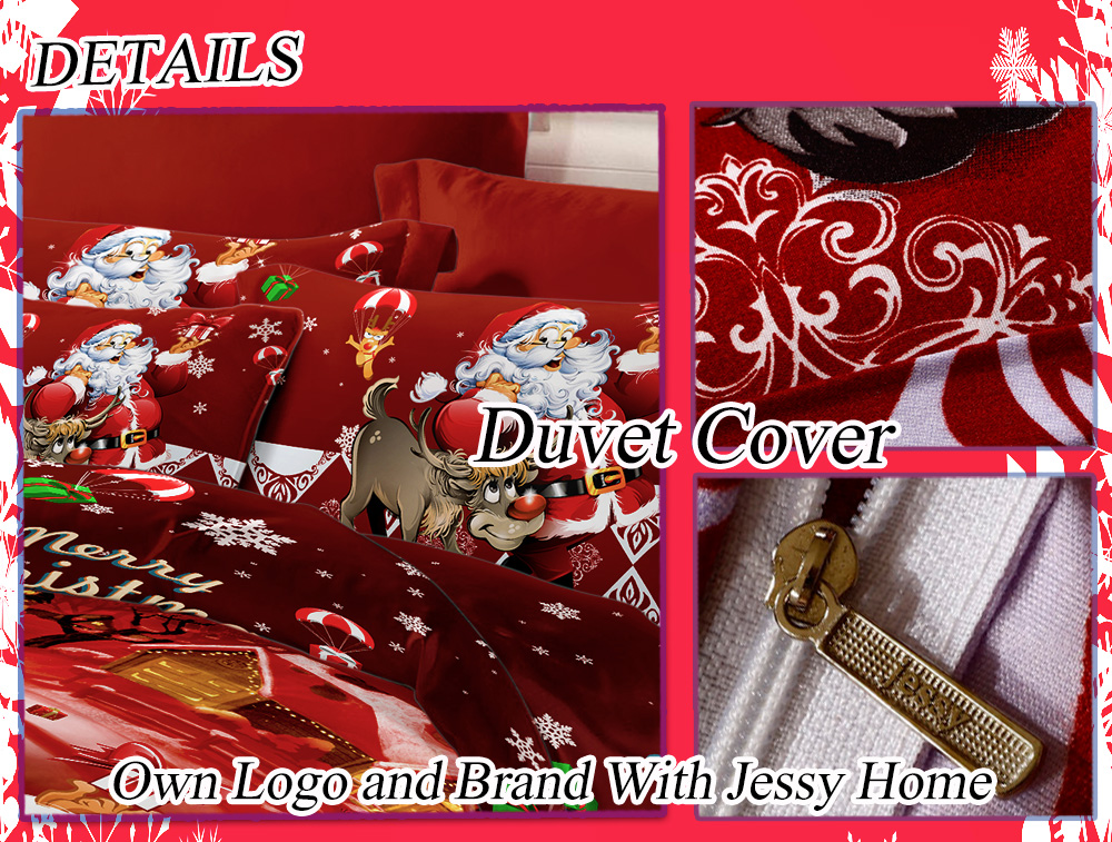 3D Printed Christmas Santa Bedding Set Polyester Duvet Cover with 2pcs Pillowcases Bed Sheet Set Christmas Bedroom Decor