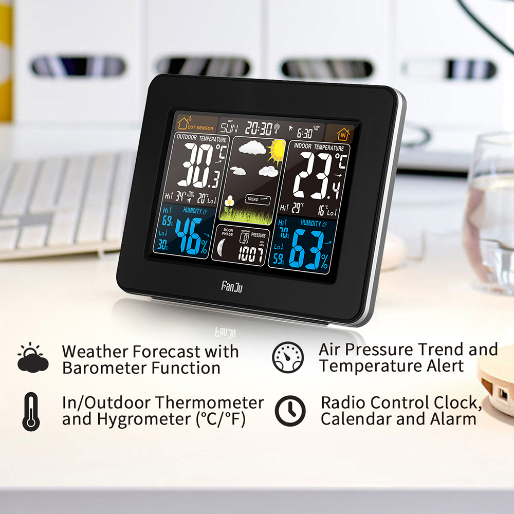 Fj3365b Digital Color Forecast Weather Station With Alert And Frost Alarm Temperature Humidity Barometer