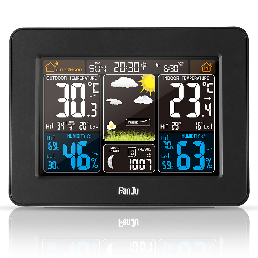 FJ3365B Digital Color Forecast Weather Station with Alert and Temperature/Humidity/Barometer/Alarm/Moon phase- Black