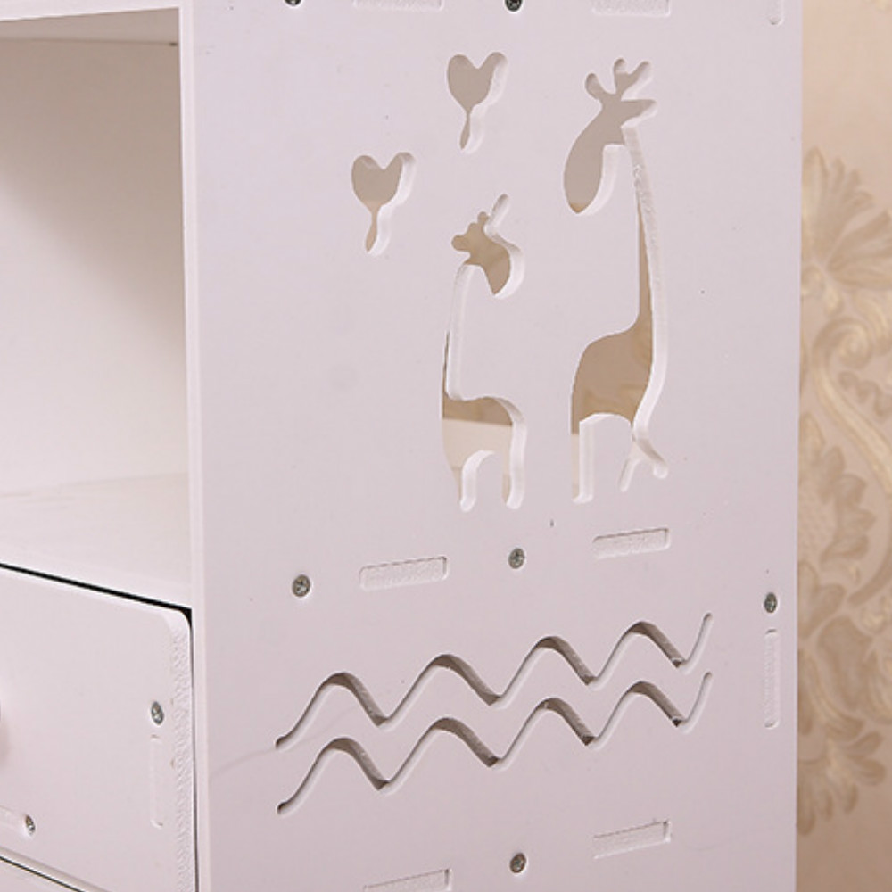 PVC Cosmetics Dresser Drawers Storage Box- White