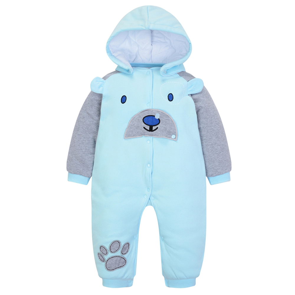 Wuawua Baby Hoody Padded Romper Cotton Animal Style Long Sleeve Jumpsuit for Winter Size 0-12M