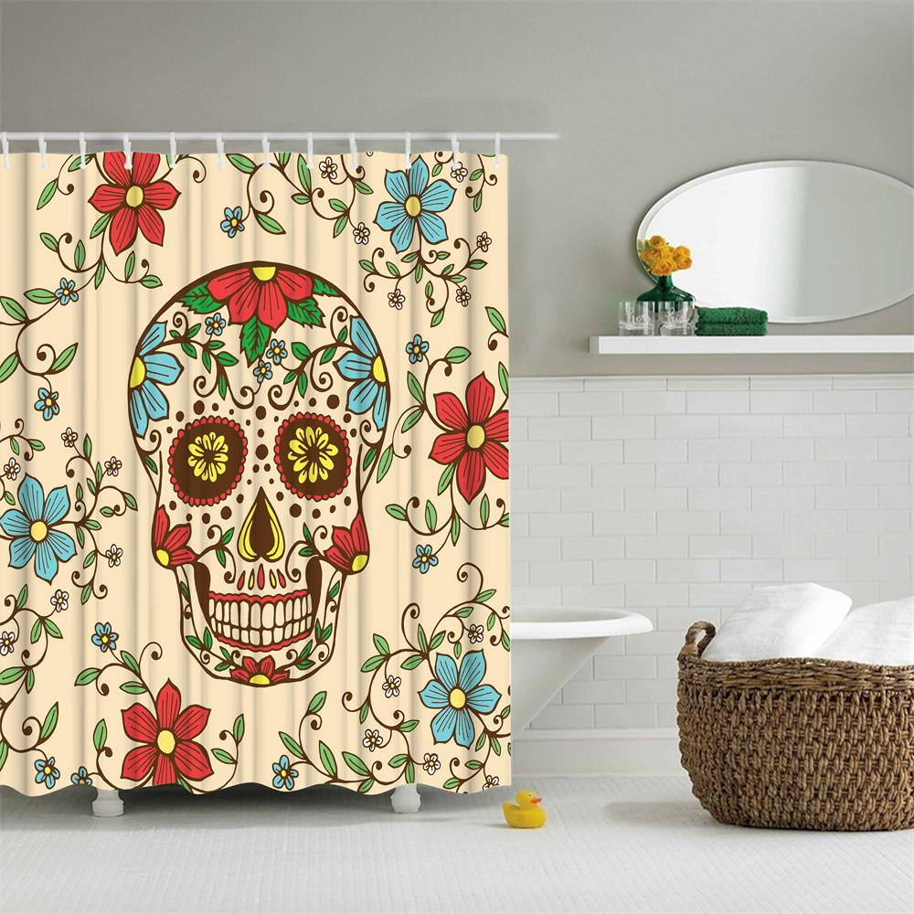 The Skeleton Flowers Polyester Shower Curtain Bathroom Curtain High Definition 3D Printing Water-Proof