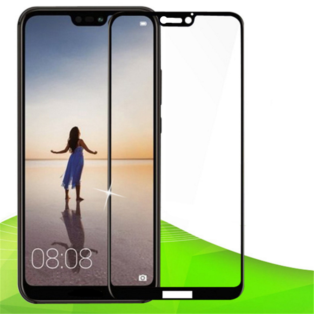 Tempered Glass Full Screen Protector for Huawei P20 Lite- Black