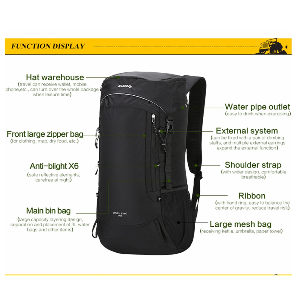 384cc78bcf35 Kimlee Hiking Daypack 40L Lightweight Packable Climbing Camping Travel  Hunting